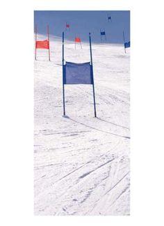 Slalom Motivdruck, Papier, 190x90 cm (L/B) weiß/blau/rot