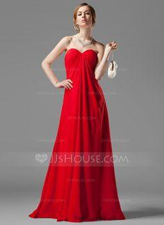 Empire Sweetheart Floor-Length Chiffon Bridesmaid Dress With Ruffle Beading (007001058)