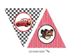 Printable CARS LIGHTNING MCQUEEN Themed Happy Birthday Banner - Triangle Pennant Banner. $8.00, via Etsy.