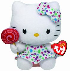 Hello kitty Ty Beany Baby pluche knuffel LOLLIPOP 15 cm