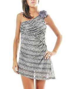 (CLICK IMAGE TWICE FOR DETAILS AND PRICING) Leopard Mesh One Shoulder Dress Gray. Wear this dress with ankle cuff heels and a contrasting colored clutch for maximum appeal. Keep makeup to a minimal and let the dress make a statement.. See More Party Dress at http://www.ourgreatshop.com/Party-Dress-C79.aspx