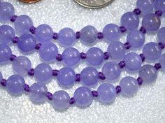 Purple Agate Hand Knotted Mala Beads Necklace - Karma, Nirvana, Medita – AwakenYourKundalini