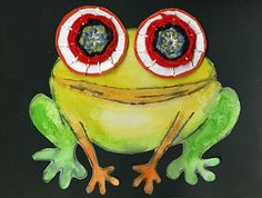 Awesome frog! Circle weaving for eyes - for Monet study in 5th grade?