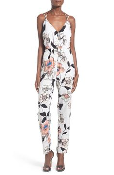 Leith Leith Floral Print Surplice Jumpsuit available at #Nordstrom