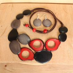 Red Bib Necklace and Earring Set  Vegetable by ArtisansintheAndes
