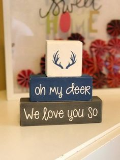 Custom Nursery Blocks, Baby Boy, Baby Girl, Hunting Theme, Oh My Deer, I Love You So, Woodland Home Decor