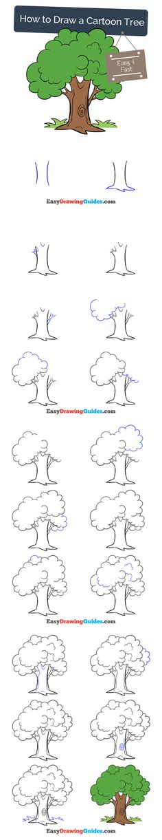 Learn How to Draw a Cartoon Tree: Easy Step-by-Step Drawing Tutorial for Kids and Beginners. #tree #cartoon #drawing #tutorial. See the full tutorial at https://easydrawingguides.com/how-to-draw-a-cartoon-tree/