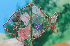 Hand Made Fish Multi Coloured Sea Glass Driftwood and Copper Sun ...