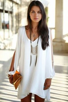 White V Neck Chiffon Shift Dress fashion inspiration for 2014