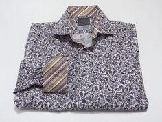 Thomas Dean M Flip Cuff Men's Floral Purple White Long Sleeve Multi-Color #ThomasDean #ButtonFront
