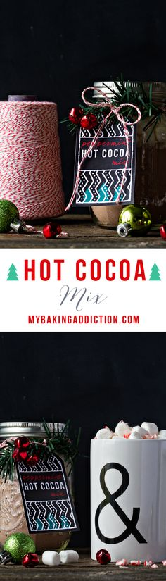 Homemade Hot Cocoa Mix (traditional and peppermint) and FREE printable tags from My Baking Addiction