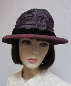 80ce7ef409d829 1900 to 1915 Purple Silk Straw Woman's Hat With Velvet Purple Bow Made By