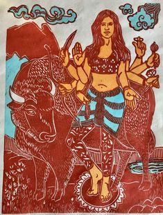 Native Durga, Everyday Goddess Durga, Protector Goddess, AmericanBuddhistArt, Thangka Painting, Durga Goddess, Hindu Art, Buddhist Art, New Work, Nativity, Buddha, Disney Characters, Fictional Characters