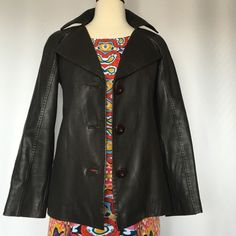 """WILLI SMITH GENUINE LEATHER JACKET Size S Very soft ,light weight, newer worn,dark brown (almost black)genuine leather jacket.Lenght 22"""" ,Size S Willi Smith Jackets & Coats"""