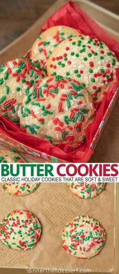 Butter Cookies are a classic holiday cookie that are so soft, sweet, and buttery they practically melt in your mouth, ready in under 20 minutes! # holiday Baking Easy Butter Cookies (Perfect for Christmas!) - Dinner, then Dessert Christmas Snacks, Christmas Cooking, Holiday Treats, Holiday Recipes, Christmas Christmas, Christmas Cupcakes, Holiday Baking Ideas Christmas, Christmas Cookie Recipes, Thanksgiving Sides