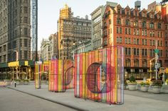 """Hou de Sousa has built volumes, constructed rebar and covered in bright cords, to form """"gateways, apertures and seating"""" on a New York plaza. Flatiron Building, Street Installation, Installation Architecture, City Events, Public Realm, Concrete Structure, Street Furniture, Design Competitions, Public Art"""