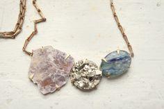Lavender Lepidolite, Peruvian Pyrite, and Brazilian Kyanite Necklace