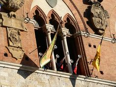 Trumpets announcing the participants in the Palio (horse race) in Siena, Italy.