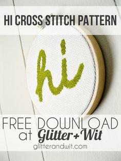Hi! It's another free cross stitch pattern from Glitter and Wit! Part of G+W's Freebie Friday - free downloads of original content every week.