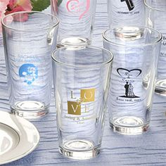 Wedding Favors & Party Supplies - Favors and Flowers :: Wedding Favors :: Personalized Wedding Favors :: Personalized Champagne, Wine, Shot Glasses  More :: Personalized Pint Glass Favors