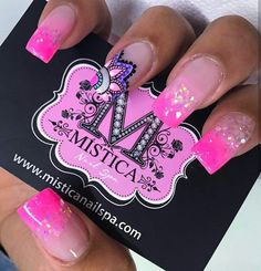 really cute nails Really Cute Nails, Pretty Nails, Organic Nails, Nail Polish Art, Bright Nails, French Tip Nails, Hot Nails, Glitter Nail Art, Nail Decorations