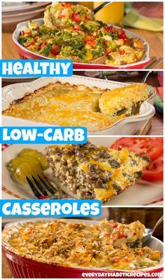 10 Easy, Tasty & Low-Carb Casseroles Including breakfast, sides, and dinner - these comforting casserole recipes are so easy to throw together. Each one fits into a while satisfying your savory cravings with less than 10 grams of carbs Lunch Snacks, Diet Recipes, Cooking Recipes, Healthy Recipes, Easy Diabetic Meals, Diabetic Friendly, Meals For Diabetics, Diabetic Snacks Type 2, Diabetic Dinner Recipes