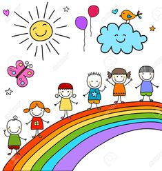 Find Kids On Rainbow stock images in HD and millions of other royalty-free stock photos, illustrations and vectors in the Shutterstock collection. Thousands of new, high-quality pictures added every day. Easy Butterfly Drawing, Easy Flower Drawings, Cartoon Butterfly, Sunflower Drawing, Easy Drawings For Kids, Drawing For Kids, Painting For Kids, Art For Kids, Disney Drawings