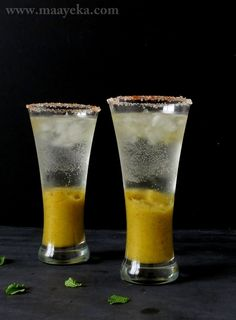 Mango Mint Lemonade Cool and refreshing summer drink of mint and mangoes