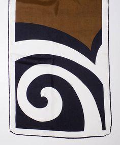 1960s-70s VERA silk scarf   geometric   spiral   black and white   Mod   OP  ART ddfb523e32c