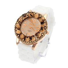 Silicone Cute Big Rhinestone Gold Analog Fashion Women Wrist Watch
