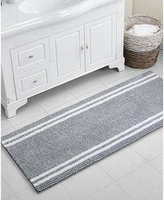 Vcny Home Stripe Noodle x Bath Rug - White/charcoal Bathroom Rugs And Mats, Bath Rugs, Bathroom Flooring, Wood Flooring, White Rug, Grey And White, White Charcoal, Grey Bathrooms, Bathroom Mirrors