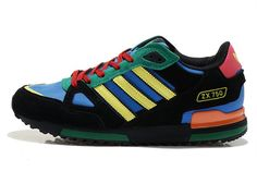 Men Adidas Originals ZX 750 Retro Running Shoes Black/Blue/Yellow/Green  {KewWp} 1