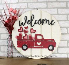Valentines Door Hanger, Red Truck sign, Rustic Wood door sign, Valentine Heart wreath, Rustic Valent Source by etsy Valentines Day Decorations, Valentine Day Crafts, Happy Valentines Day, Holiday Crafts, Valentine Heart, Valentine Ideas, Her Wallpaper, Boutique Decor, Rustic Doors