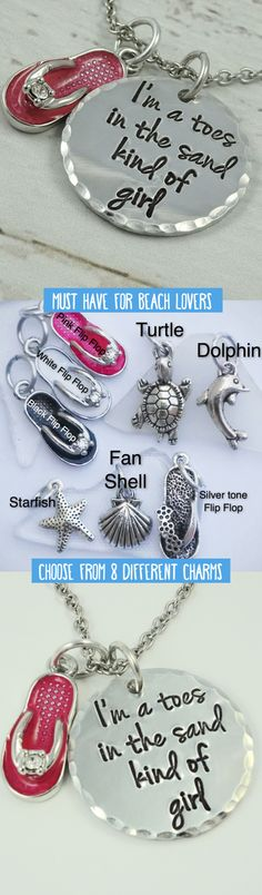 Are you a hands in the sand kind of beach girl? Wear this necklace to show your love for the sand, beach, and ocean! Includes your choice of charm: Fan Shell, Silver Flip Flop, Starfish, Turtle, Dolphin, Pink Flip Flop, Black Flip Flop, or White Flip Flop.