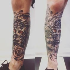 Photo by (elliepaola522) on Instagram | #skull #skulltattoo #bngskull #tattoo #tattoos #tattooed #inked #legtattoo #lowerlegtattoo #halflegsleeve #clocktattoo #rosetattoo #leopardtattoo Best Leg Tattoos, Lower Leg Tattoos, Leg Tattoo Men, Calf Tattoo, Full Sleeve Tattoos, Tattoos For Guys, Tattoo Ink, Evil Skull Tattoo, Skull Rose Tattoos