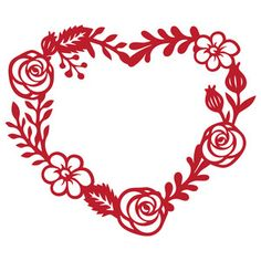 Silhouette Design Store: floral heart frame
