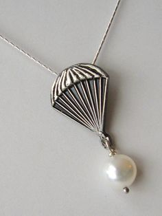 REDUCED - Parachute pearl - Solid Sterling Silver 18 inch chain and freshwater pearl pendant - The Hunger Games - by Twilight Eyes Studio  etsy.com $29.95