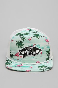 Vans Pink Flamingo Trucker Hat Cause flamingos! Snapback Hats, Beanie Hats, Beanies, Trucker Hats, Vans Hats, Dope Hats, Alexa Chung, Vans Off The Wall, Pink Flamingos