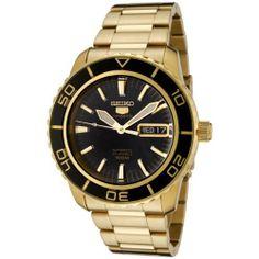 Seiko Men's SNZH60 Seiko 5 Automatic Black Dial Gold-Tone Stainless Steel Watch Seiko. $169.00. Save 66% Off!