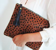 Leopard Print Calf Hair Zipper Pouch Leather Clutch by linmade, $89.00