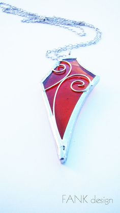 Stained glass necklace transparent red pendant by FANKdesign, $28.00