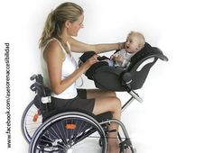 Baby seat for parent in wheelchair - could also be used to hold basket for carrying items to and from the pantry or cabinets Occupational Therapy, Physical Therapy, Wheelchair Accessories, Adaptive Equipment, Adaptive Sports, Mobility Aids, Disabled People, Assistive Technology, Cerebral Palsy
