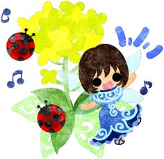 春のフリーのイラスト素材可愛い妖精と綺麗な菜の花と二匹のてんとう虫  Free Illustration of spring Pretty fairy and beautiful brassica and two ladybug   http://ift.tt/2mHK8F4