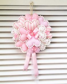 how to make deco mesh and flowers spring wreath Valentine Wreath, Valentine Decorations, Valentine Crafts, Valentines, Hobbies And Crafts, Crafts To Make, Arts And Crafts, Heart Crafts, Baby Crafts