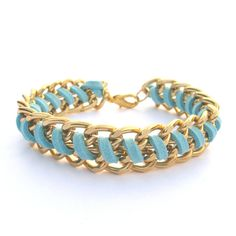 Annie Arm Candy Chain Woven Bracelet Faux Suede Leather Sky Blue Chunky Gold Chain Bracelet $13