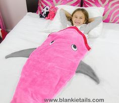 Blankie Tails pink & gray shark  blankets available on www.blankietails.com