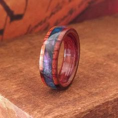 Acrylic Rosewood Ring - Wooden Ring Men Wooden Wedding Band Woman Engagement Ring Wood Anniversary