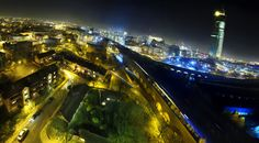 A weird curvy night view of the south west corner of Manchester city centre by Andrew Brooks Manchester City Centre, Manchester Uk, Future Trends, Salford, Environment, Fair Grounds, Urban, Photography, Travel