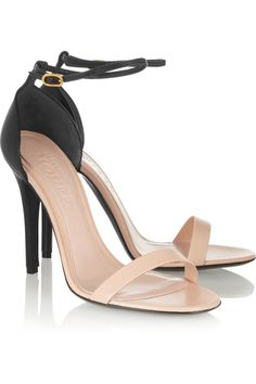 Alexander McQueen Two-tone leather sandals. Black High Heel Sandals, Black Leather Sandals, Ankle Strap Sandals, Ankle Straps, Shoe Boots, Shoes Heels, Edgy Shoes, Pumps, Beautiful Heels