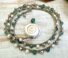 hemp crochet surfer cruelty free boho necklace triple wrap bracelet 2 double wrap anklet with sea spiral shell emerald Tibetan silver beads by ShySu, $30.00